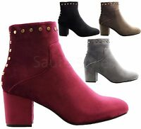 Ladies Women High Block Heels Velvet Gold Studded Chelsea Ankle Boots Shoes Size