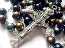 Black Tahitian 8-9MM Pearls BEADS ROSE ROSARY CROSS CRUCIFIX  NECKLACE 59CM LONG