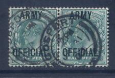 GB OFFICIAL ARMY KE7 1/2d PAIR...FU...GOSPORT