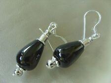 Elegante schwarze Achat Tropfen Ohrringe Ohrhänger Earrings 925 Silberhaken