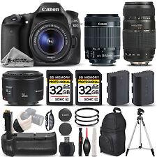 Canon EOS 80D DSLR Camera with 18-55mm Lens + 50mm 1.8 + 70-300mm + BATT GRIP
