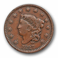 1827 1C Coronet Head Large Cent Very Fine VF US Type Coin #7400