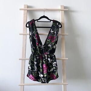 BNWT Missguided Velvet Devore Plunge V Neck Playsuit Black Rose Floral Size 6