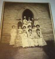 Rare Antique Victorian American Fashion Big Group  of Young Ladies Cabinet Photo