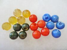Antique Vintage Buttons-Balls With Tunnel Shank-RED GREEN BLUE HONEY