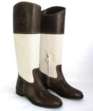 BALLY - Bottes cavalières cuir marron toile écru 37 - NEUF