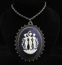 "24"" Vintage Style the three graces Cameo Pendant Necklace"