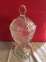Vintage Art Glass Pedestal Candy Dish with Lid Pressed Grape Pattern