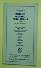 1961 Ontario Canada Hunting Permit License Regulation Booklet...Free Ship!
