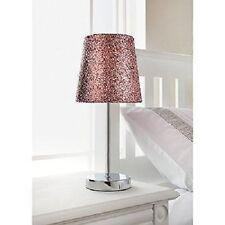 Brillo rosa y plata cromo soporte de lámpara de mesa Colección Metálico pantalla