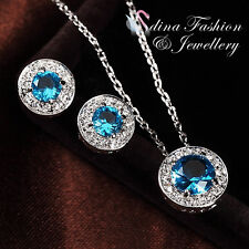 18K White Gold Plated Made With Swarovski Crystal Aquamarine Delicate Halo Set