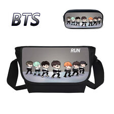 KPOP BTS Messenger Bag Boys Girls Bangtan Shoulder School Bag & Pen Pencil Case