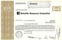 Scientific Resources Corporation > 1974 Pennsylvania old stock certificate share