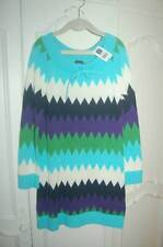 NWT GAP Chevron Stripe Sweater Dress S 6 7 Aqua Purple Green Zig Zag Spring Fall