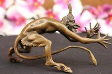 Signed Original Devil Dark Angel Satyr Mythical Bronze Sculpture Deco Figurine