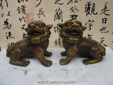 Chinese FengShui old Bronze Copper Evil Door Fu foo Dog Lion statue Pair