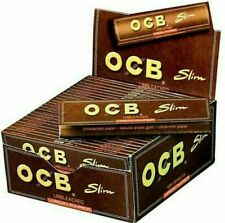 OCB ROLLING PAPERS KING SIZE - UNBLEACHED VIRGIN SLIM - 50 BOOKLETS BOX SMOKING