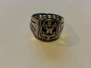 Vintage Sterling Silver with Enamel Men's Boy Scouts of America Eagle Scout Ring