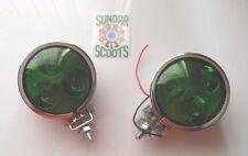 """2 12v 3.5"""" SPOT LIGHTS 3 LED BULBS. GREEN LENS CHROMED CASE.LAMBRETTA/VESPA"""