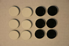 12 Othello Game Pieces Replacement Black and White Discs Chips Tokens