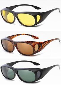 Anti Glare Polarised Wrap Around Driving Glasses Night/Day Fit Over Sunglasses