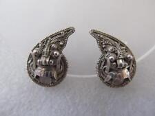 Vintage Antique Chinese Straits 900 Silver Dragon Lion Foo Dog Clip On Earrings