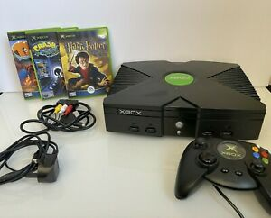 Vintage Xbox Console Video Game System with 3 Games