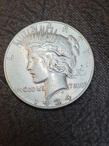 1934 Peace Dollar in Very good grade silver coin usa