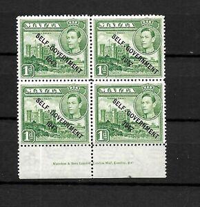 Malta, 1948 KGVI Self Government optd, 1d green imprint block of 4 (M342)
