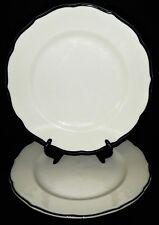 2 Syracuse China 13-D Dinner Plates Black Platinum Scalloped Edge Restaurantware