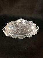 LE Smith Glass Hobnail Oval Covered 1/4 lb Stick Butter Dish #5541, Elegant