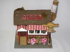 "Birdhouse ""Diner"" Birdhouse Hand Painted 9 1/2"" H X 9 3/8"" W X 7 1/2"" D -New"