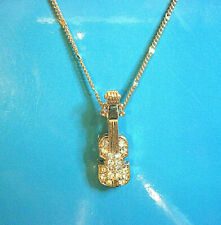 VIOLIN pendant -  necklace  , pendant (Gold tone) with rhinestones GIFT BOXED