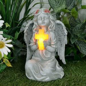 "Solar Powered Angel Garden Ornament LED Light Cross Memorial Statue Outdoor 9"""