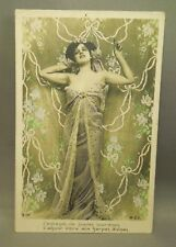 Antique Early 1900's French Pin Up Girl Colorized Written on Postcard