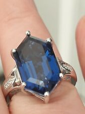 Twilight Quartz & Zircon Solitaire with Accents Ring Size M Sterling Silver Blue