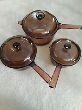 6 Pc Corning Pyrex Visions Cookware 1L 1.5L 2.5L Amber Saucepan Set with Lids