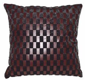 Sb217a Reddish Brown Faux Leather Black Faux Fur Cushion Cover/Pillow Case