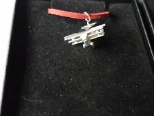 "Fokker Dr.1 Triplane The Red Baron's c14 English Pewter On 18"" Red Cord Necklace"