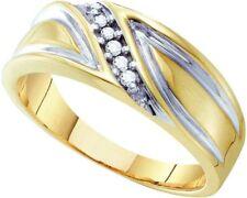 10k Yellow Gold Mens Diamond Band Wedding Anniversary Ring 1/10 Cttw