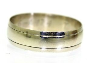 Vintage 6mm Wide 9ct White Gold Wedding Band Ring Size T ~ 9 3/4