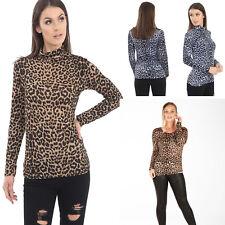 New Womens Ladies Leopard Print Long Sleeve Scoop Turtle Neck TopT-shirt UK 8-26