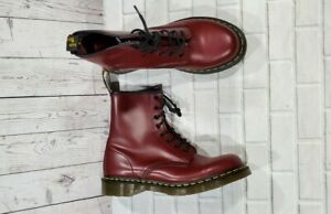 Dr Martens 8 Eye Lace Up Leather Combat Boots Red Burgundy 11821 WOMENS SIZE 10