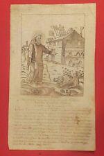 Oraison à St Ménas, ermite, dessin eu crayon, texte à l'encre, anonyme, XVIIIe