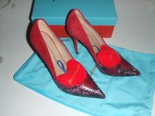 JEAN-MICHEL CAZABAT Womens 8 Red Suede Snakeskin Pumps Heels Shoes New Read