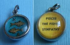 Vintage Pisces The Fishes zodiac bubble intaglio sterling charm