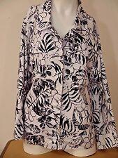 Women's Coral Bay Jacket~Size 1X~Black~White~Button Down~3/4 Sleeve~Pockets~VGC
