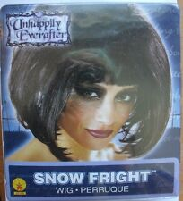 HALLOWEEN SNOW FRIGHT WHITE UNHAPPILY EVER AFTER LADIES BLACK BOB WIG WHITE HAIR