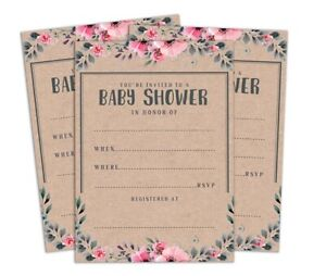 Baby Shower Printable Fill or Write In Blank Party Supplies Pack Of 28 -DSIN270A