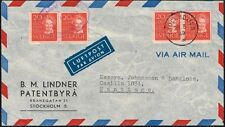 340 SWEDEN TO CHILE AIR COVER 1949 WRITER STRINDBERG TWO DIFF. CANCELLATIONS